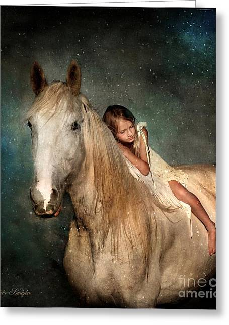 Gray Horse Greeting Cards - The Guardian Angel Greeting Card by Dorota Kudyba