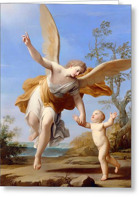 Religious Artwork Paintings Greeting Cards - The Guardian Angel Greeting Card by Franceschini Marcantonio