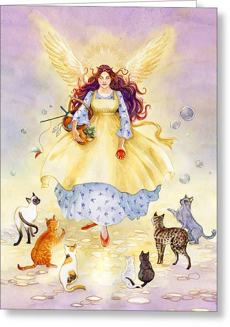 Feline Fantasy Greeting Cards - The Guardian Angel of Cats Greeting Card by Janet Chui
