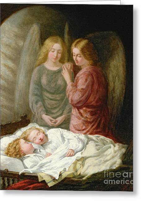 Sleep Paintings Greeting Cards - The Guardian Angels  Greeting Card by Joshua Hargrave Sams Mann
