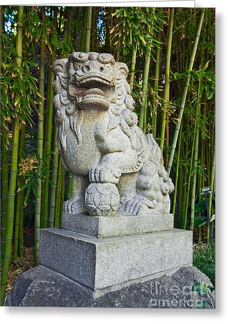 Weathered Rock Face Greeting Cards - The Guardian - Chinese Guardian Lion statue with a bamboo backdrop. Greeting Card by Jamie Pham