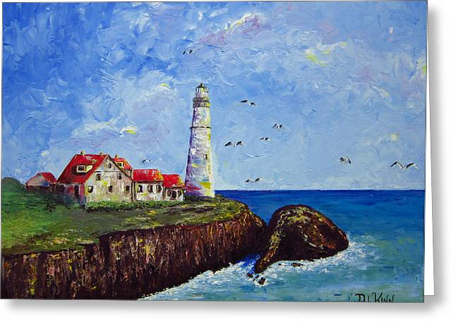 Cliffs And Houses Greeting Cards - The Guardian Greeting Card by Dottie Kinn