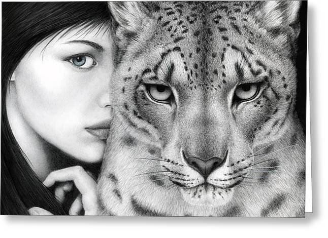 Feline Fantasy Greeting Cards - The Guardian Greeting Card by Pat Erickson