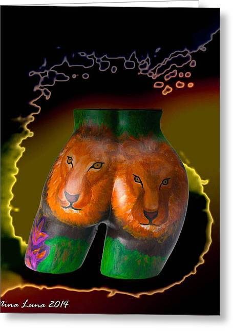 Lions Sculptures Greeting Cards - The Guardians Two Greeting Card by Nina Luna