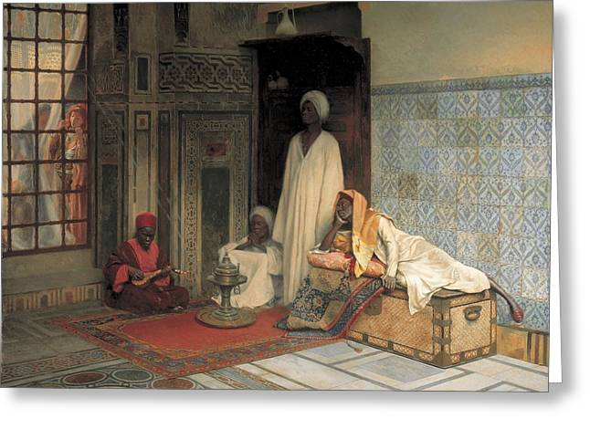Harem Photographs Greeting Cards - The Guards Of The Harem Oil On Panel Greeting Card by Ludwig Deutsch