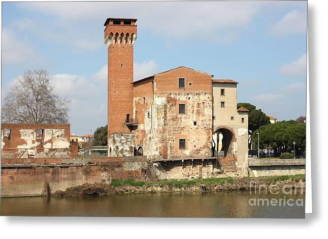 Historic Ruins Greeting Cards - The Guelph Tower and Medici Citadel in Pisa Greeting Card by Kiril Stanchev