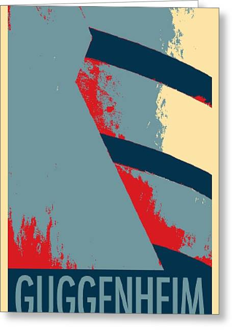 Shepard Fairey Greeting Cards - THE GUGGENHEIM in HOPE Greeting Card by Rob Hans