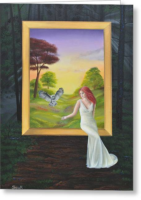 Woman And Owl Greeting Cards - The Guide Greeting Card by Jody Poehl Sylvia Perez