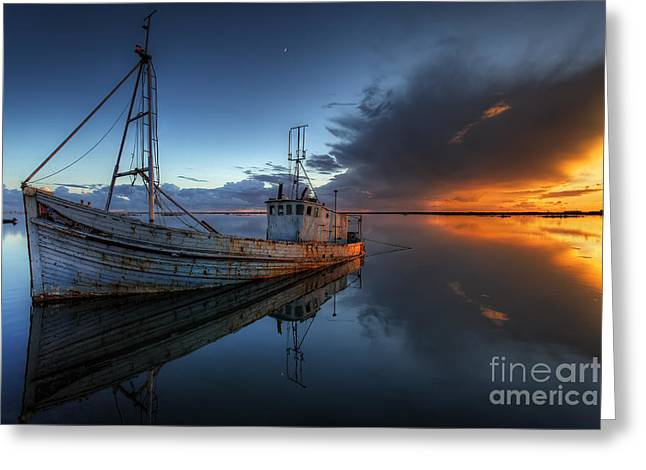 Prawn Boat Greeting Cards - The Guiding Light Greeting Card by English Landscapes