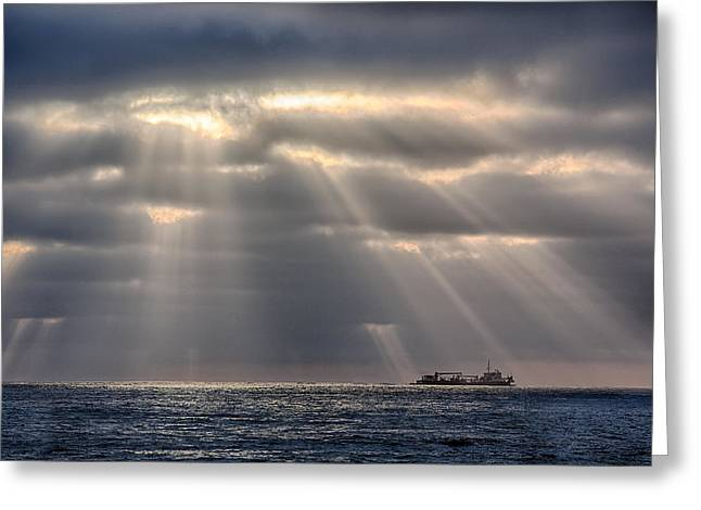 Tug Greeting Cards - The Guiding Light Greeting Card by Peter Tellone