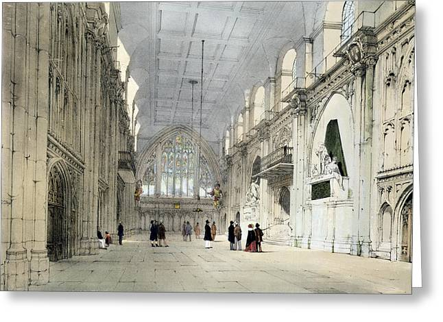 Gothic Drawings Greeting Cards - The Guildhall, Interior, From London As Greeting Card by Thomas Shotter Boys