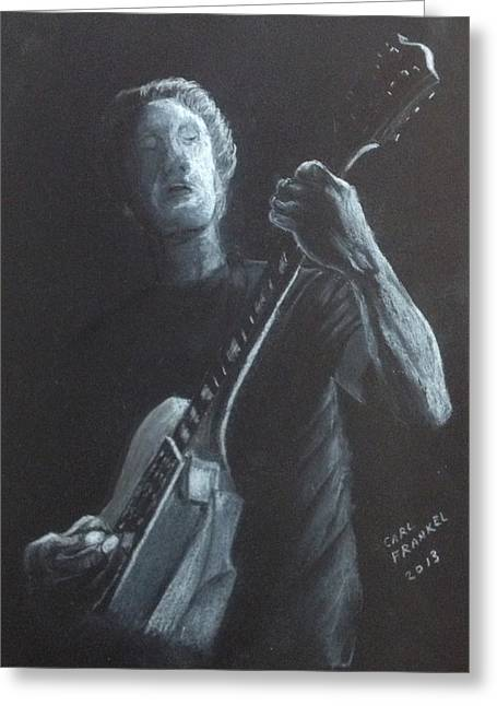 Guitar Player Drawings Greeting Cards - The Guitar Player Greeting Card by Carl Frankel
