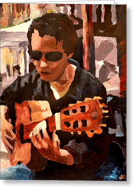 Gitarre Greeting Cards - The Guitar Player from the Matrix Greeting Card by M Bleichner