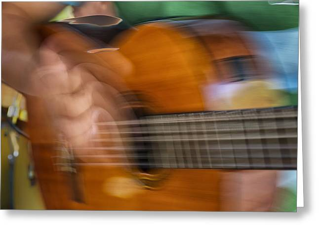 Eco-village Greeting Cards - The Guitar Player Greeting Card by Tom Dietrich