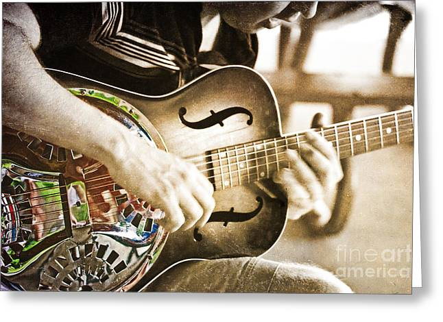 Playing Musical Instruments Greeting Cards - The Guitar Player Greeting Card by Tom Gari Gallery-Three-Photography