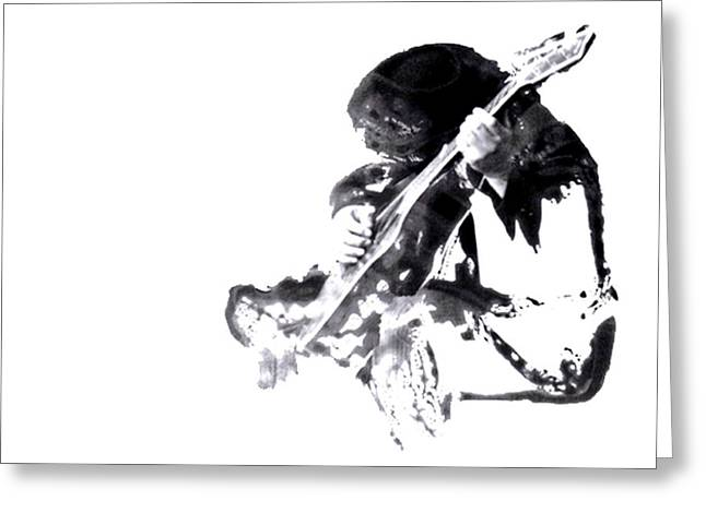 Playing Musical Instruments Mixed Media Greeting Cards - The Guitarist Greeting Card by Ok More Photos