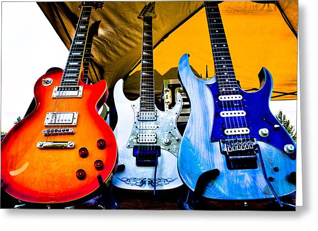 The Fabulous Kingpins Greeting Cards - The guitars of Jimmy Dence - The Kingpins Greeting Card by David Patterson