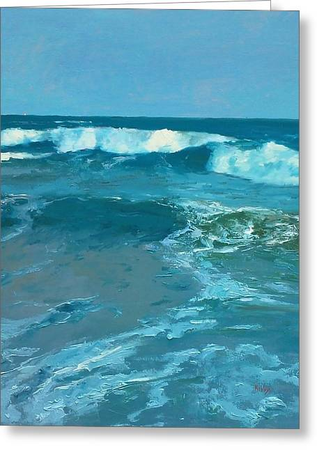 Galveston Paintings Greeting Cards - The Gulf Greeting Card by Randall Cogburn