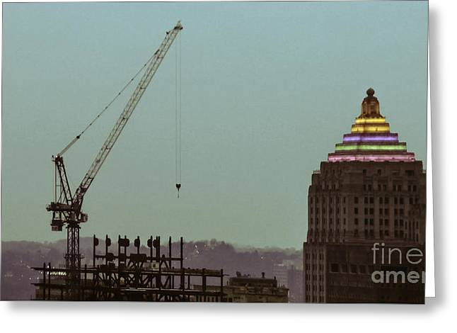 Pittsburgh Artwork. Greeting Cards - The Gulf Tower Greeting Card by Charlie Cliques