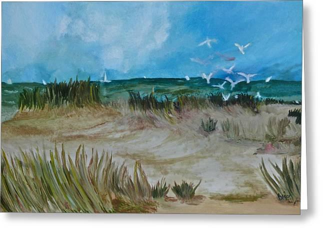 Westport Ct Greeting Cards - The gulls Greeting Card by Deborah Brier-Andrews