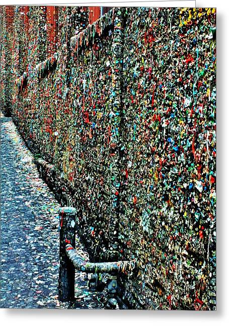 Seattle Landmarks Greeting Cards - The Gum Wall Greeting Card by Benjamin Yeager