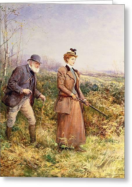 Heaths Greeting Cards - The Gun Shot Greeting Card by Heywood Hardy