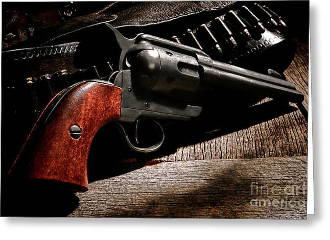 Saloons Greeting Cards - The Gun that Won the West Greeting Card by Olivier Le Queinec