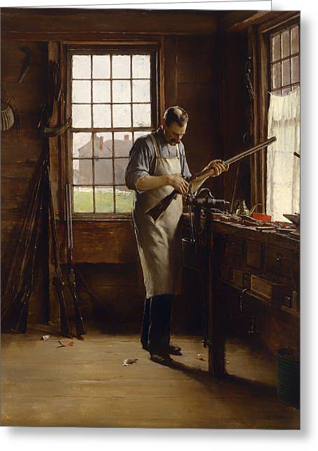 Gunsmith Greeting Cards - The Gunsmith Shop Greeting Card by Edgar Ward
