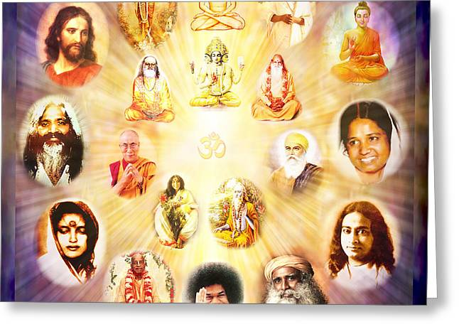 Krishna Greeting Cards - The Guru Tattva Greeting Card by Ananda Vdovic