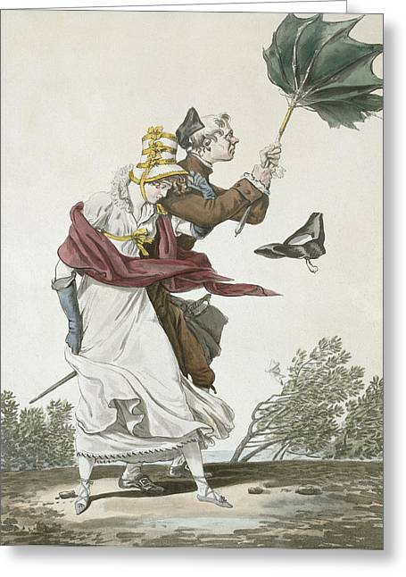 Umbrella Drawings Greeting Cards - The Gust Of Wind Greeting Card by Antoine Charles Horace Vernet