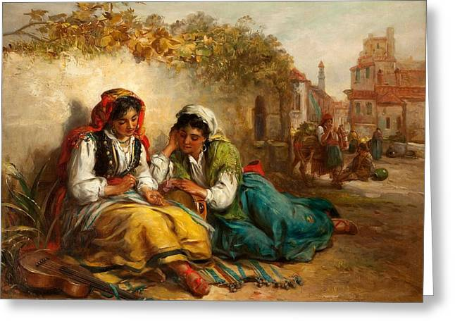 Begging Greeting Cards - The Gypsies Greeting Card by Thomas Kent Pelham