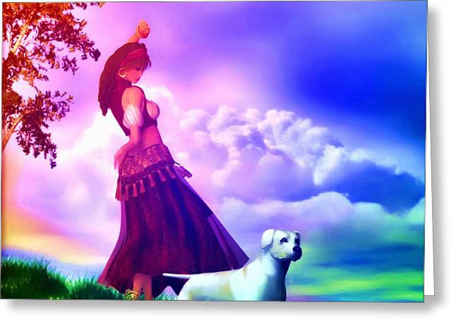 Gypsy Mixed Media Greeting Cards - The Gypsy and her dog Gypsy Greeting Card by Tyler Robbins