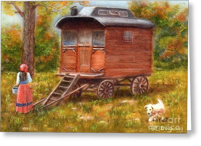 Romany Greeting Cards - The Gypsy Caravan Greeting Card by Lora Duguay