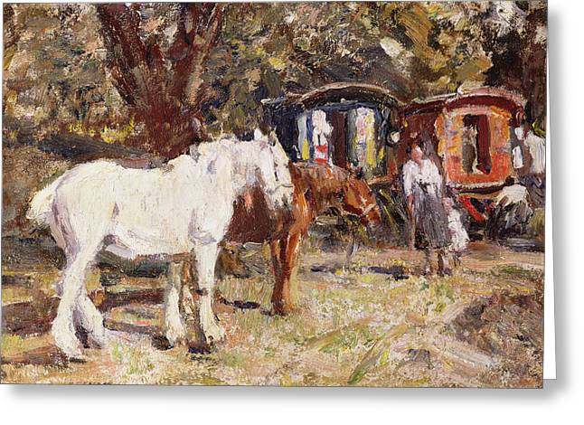 Wanderer Greeting Cards - The Gypsy Encampment Greeting Card by Harry Fidler