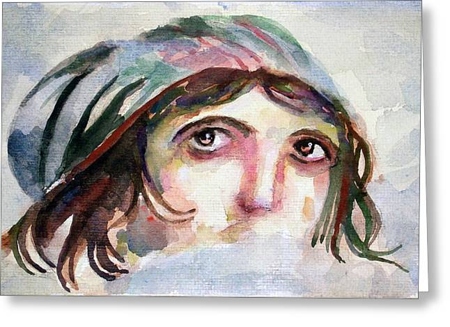 Gypsy Greeting Cards - The Gypsy Girl Gaia - Zeugma Mosaic Museum - Gaziantep Greeting Card by Faruk Koksal