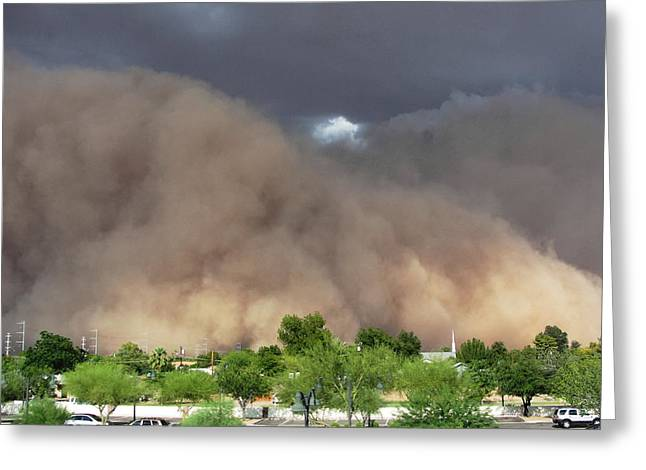 Greeting Cards - The Haboob Is Coming Greeting Card by Natalie Ortiz