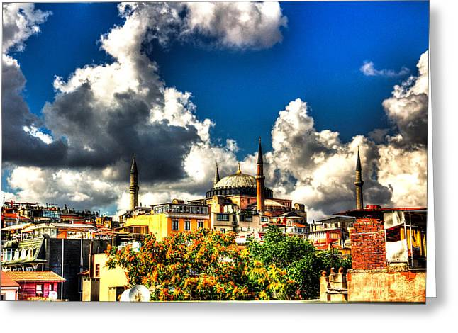 Istanbul Pyrography Greeting Cards - The Hagia Sophia Greeting Card by Mark Alexander