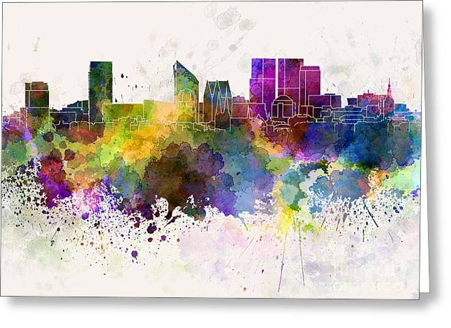 The Hague Greeting Cards - The Hague skyline in watercolor background Greeting Card by Pablo Romero