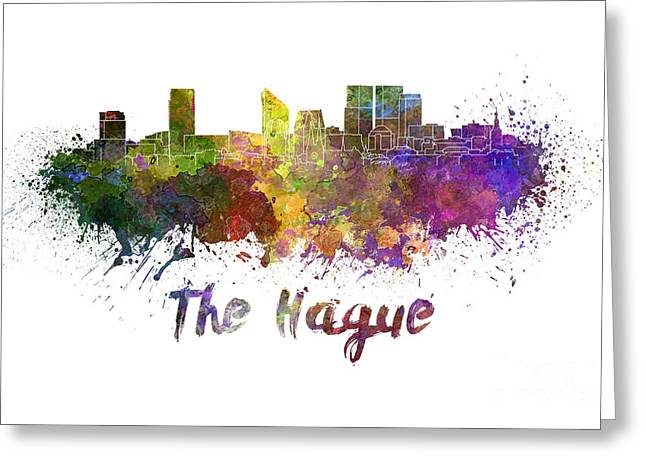 The Hague Greeting Cards - The Hague skyline in watercolor Greeting Card by Pablo Romero