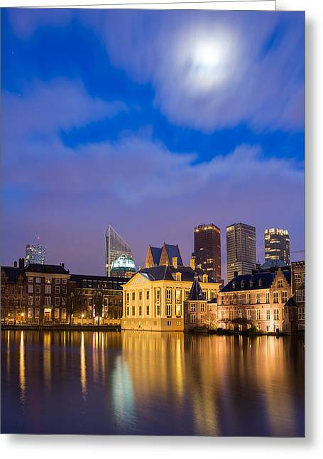 The Nature Center Greeting Cards - The Hague Under The Moonlight Greeting Card by Mihai Lefter