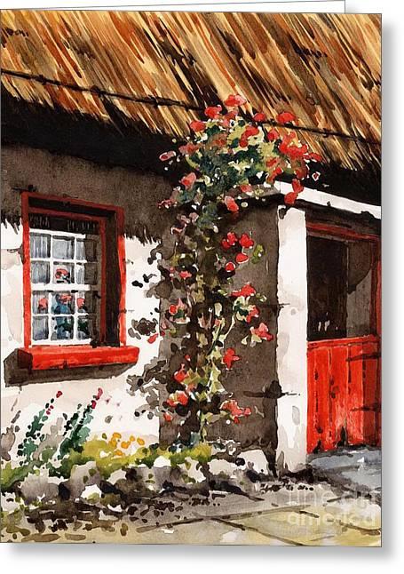 Irish Farm Greeting Cards - The Half Door Greeting Card by Val Byrne