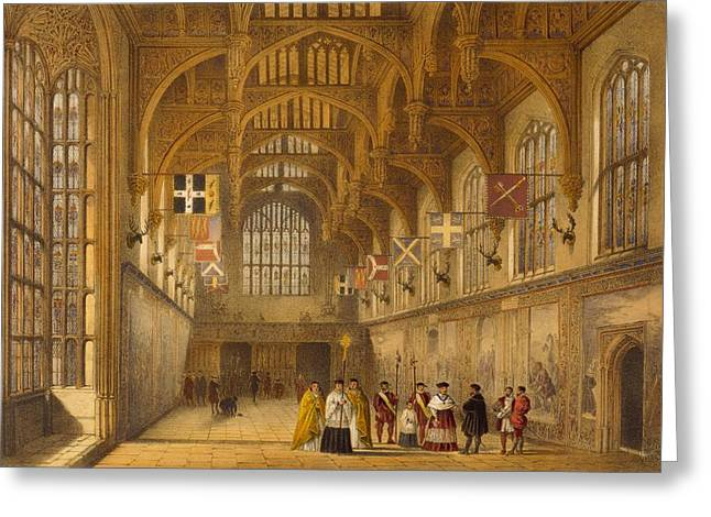 Hamptons Drawings Greeting Cards - The Hall, Hampton Court, C.1600 Greeting Card by Joseph Nash