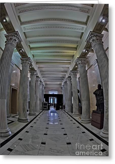 United States Greeting Cards - The Hall of Columns Greeting Card by Susan Candelario
