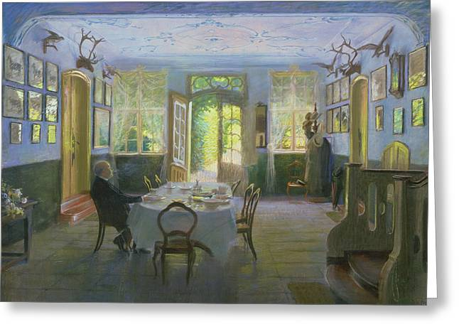 Streaming Light Greeting Cards - The Hall of the Manor House in Waltershof Greeting Card by Hans Olde