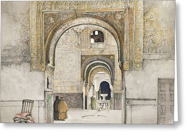Lions Drawings Greeting Cards - The Hall Of The Two Sisters Greeting Card by John Frederick Lewis