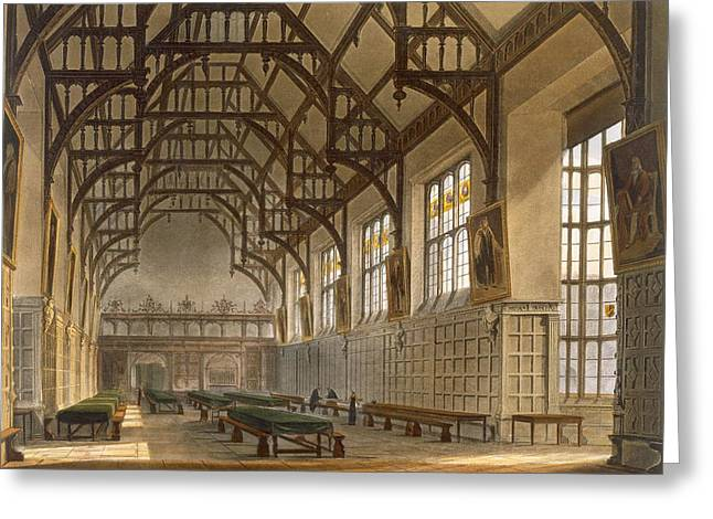 Duke Drawings Greeting Cards - The Hall Of Trinity College, Cambridge Greeting Card by Augustus Charles Pugin