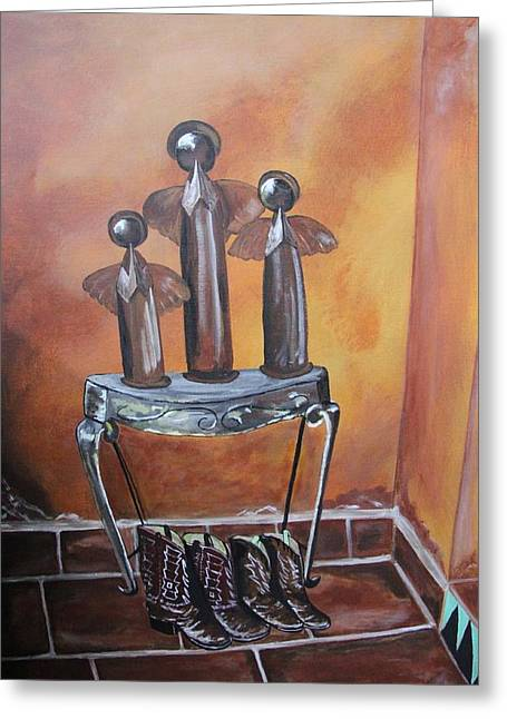 Footwear Love Greeting Cards - The Hallway Greeting Card by Karen Vaillancourt