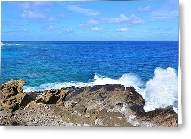 Halona Greeting Cards - The Halona Blowhole Sandy Beach and Makapuu Point Greeting Card by Eric Evans