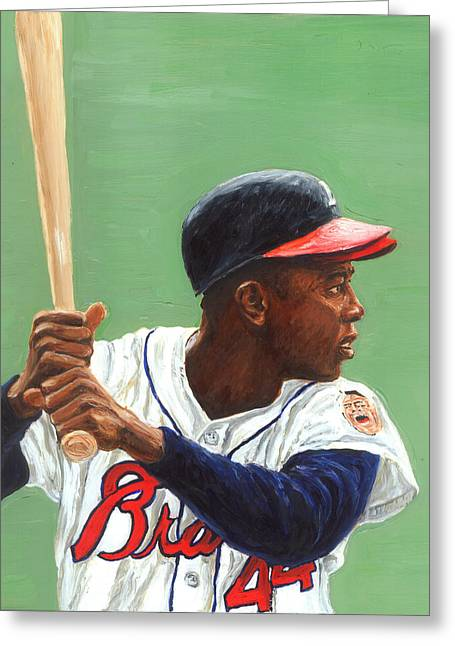 Hank Aaron Greeting Cards - The Hammer Greeting Card by Rudy Browne