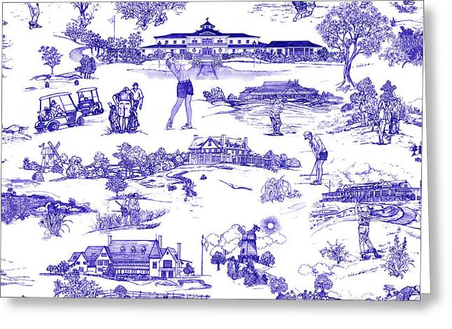 Golf Design Greeting Cards - The Hamptons Historical Golf Courses Greeting Card by Kimberly McSparran